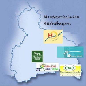 Karte der Montessori-Schulen Südostbayern